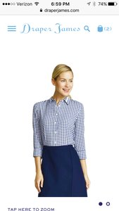 Draper James Button Down Shirt Navy Parton Check