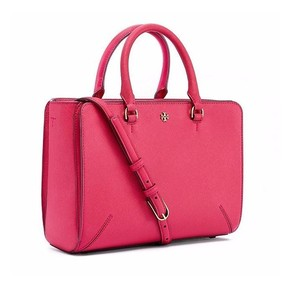 Tory Burch Saffiano Leather Pink Satchel in Dark Peony