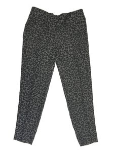 Ann Taylor Textured Leopard Cigarette Slim Ankle Skinny Pants Black
