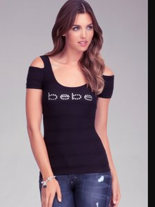 bebe Crystal Embellished Top Black