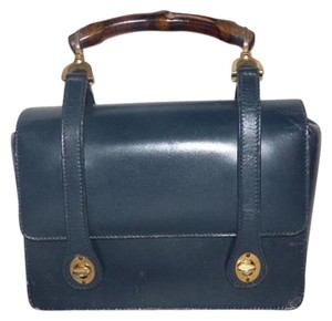Gucci Mint Vintage Dressy Or Casual Satchel in navy blue leather & bamboo handle