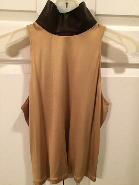 Roberto Cavalli Sleeveless Gold/camel Color Fabric Designer Tunic