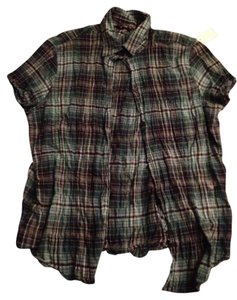 Eddie Bauer Punk Flash Sale Button Down Shirt Plaid Green Blue