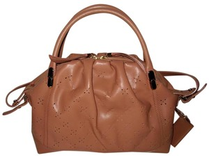 Nina Ricci Leather La Rue Sac Perforated Tobac Shoulder Bag