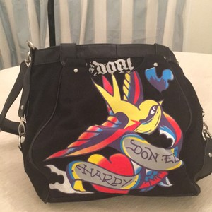 Ed Hardy Black Messenger Bag