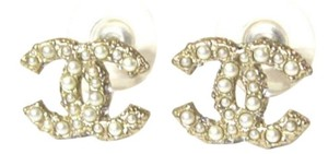 Chanel Chanel CC Pearl Crystal Gold Plated Earrings
