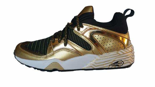 Item - Gold Black White Women's Golden Sneakers Size US 8.5 Regular (M, B)