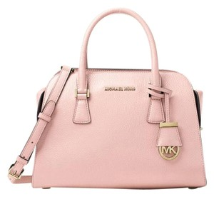 Michael Kors Harper Medium Pebbled Leather Satchel in Blossom