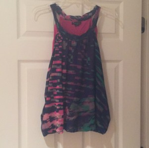 Forever 21 Top Navy with pink and greens