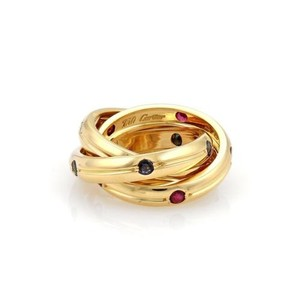 Cartier Cartier Trinity Diamond Sapphire Ruby 18k Gold Rolling Ring 48-us