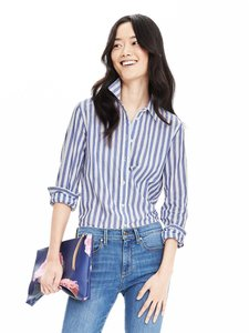 Banana Republic Top Blue and white stripe