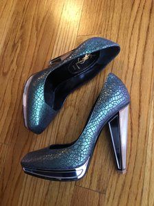 Saint Laurent Mermaid Two-tone Mirror Green Purple Pumps