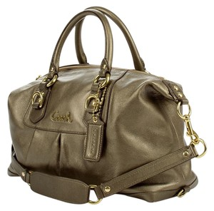 Coach Satchel in Metallic gray green