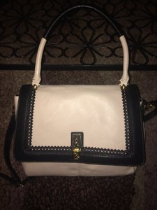 Emma Fox Satchel in Black and oatmeal/beige