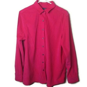 Lands' End Corduroy Long Sleeve Hot Button Down Shirt Pink