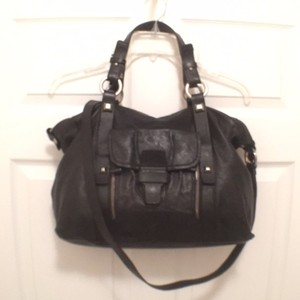 NICOLI Leather Tote Cross Body Travel/weekend Satchel in Black