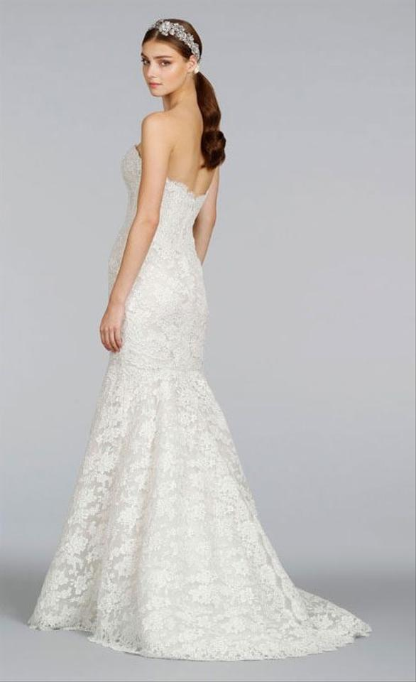 Lazaro Ivory Alencon Lace Style #3412 Traditional Wedding Dress Size ...