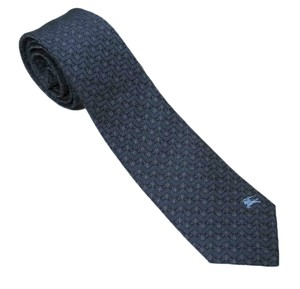 Burberry London Men's Carbon Blue Nova Check Silk Blend Neck Tie