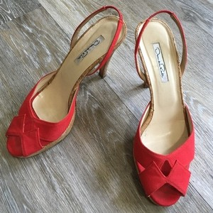 Oscar de la Renta Red/Cork Sandals