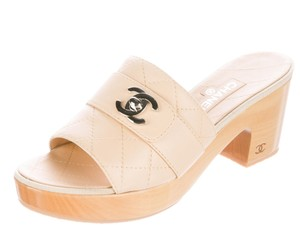 Chanel Patent Leather Beige, Silver Platforms