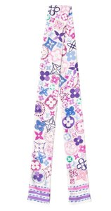 Louis Vuitton White, purple multicolor floral Louis Vuitton silk bandeau