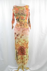 Multi Maxi Dress by Save The Queen Cold Shoulder Cut Out Scoop Back