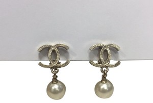 Chanel Authentic Gold Plated CC Pearl Dangle Clip on Earrings
