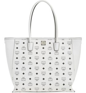 MCM Top Zip Closure Interior Wall Tote in White