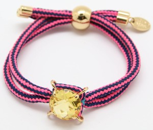 Juicy Couture NEW Goldtone Juicy Couture Fabric Band Yellow Rhinestone BRACELET