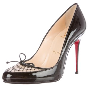 Christian Louboutin Patent New Simple Round Toe Black Pumps