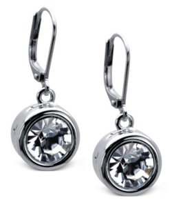 Tahari Tahari Crystal Drop Earrings in SIlvertone