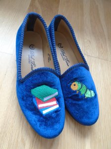 Del Toro Smoking Slippers Royal Blue Suede Flats