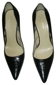 Burberry Croc Embossed Leather Pointed Toe Black Pumps