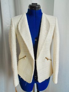 Zara Tweed Gold Ivory Blazer