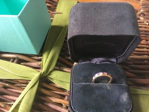 Tiffany & Co. Tiffany & Co. 18kt. Yellow Gold And Platinum Band Ruby And Diamond Ring Size 4.5