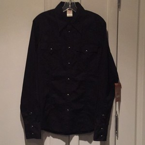 True Religion Mens Shirts Button Down Shirt Black