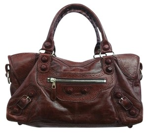 Balenciaga Burgundy Leather City Satchel