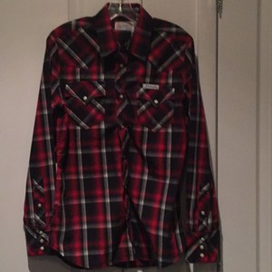True Religion Mens Snaps Button Down Shirt Red,Black, White,Grey Plaid