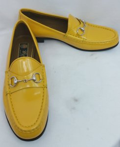 Gucci Yellow Leather Loafers Flats