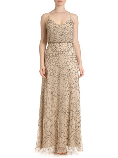 df04d6ffee6767 30%OFF Adrianna Papell Nude Sleeveless Beaded Blouson Gown Dress - 25% Off  Retail
