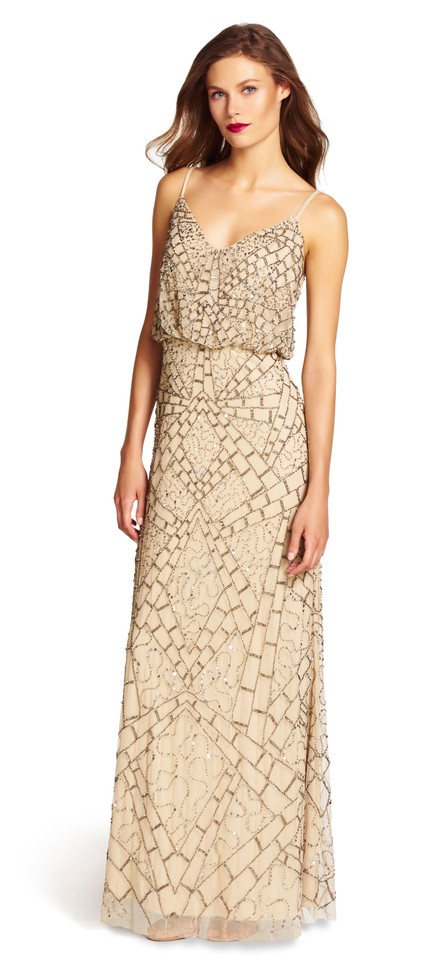 Adrianna Papell Nude Sleeveless Beaded Blouson Gown Long Formal ...
