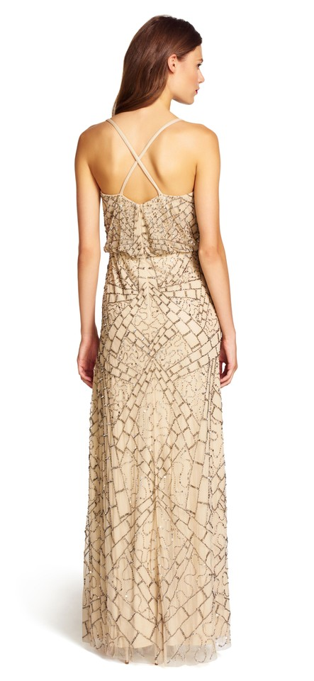 a2053cc5a39 Adrianna Papell Nude Sleeveless Beaded Blouson Gown Long Formal Dress Size  14 (L) - Tradesy