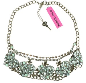 Betsey Johnson Betsey Johnson Mint Multi Crystal Gem Heart Necklace New!