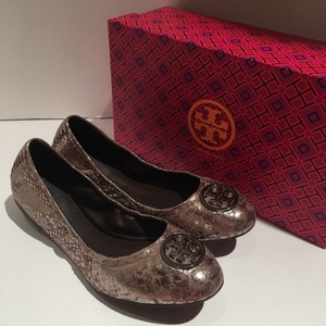 Tory Burch Pewter snake print Flats