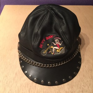 Betty Boop Betty Boop Black Leather Biker Chick Cap