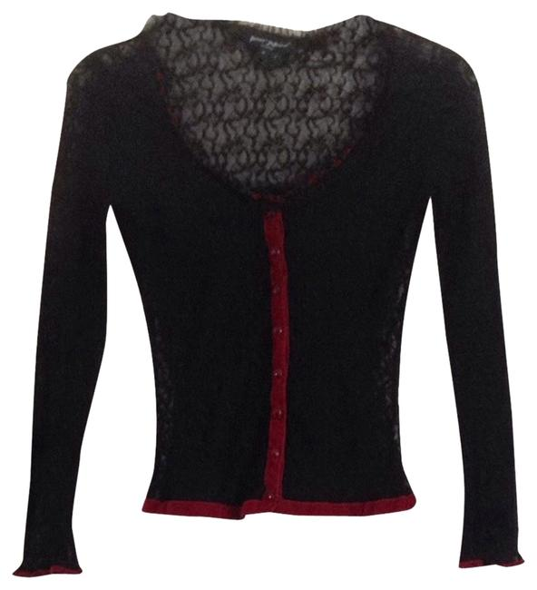 Preload https://item1.tradesy.com/images/betsey-johnson-black-with-burgundy-trim-reduced-price-cardigan-size-petite-4-s-1989640-0-0.jpg?width=400&height=650