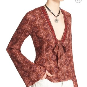 Free People Top CORAL COMBO