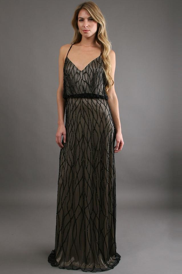 a51ca811b673 Adrianna Papell Black Nude Vines Beaded Mesh Blouson Gown Formal Dress