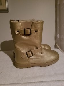 385 Fifth Buckles Faux Shearling Non-slip Sole Gold Boots