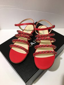 Chanel Chain Flats Size 38.5 Red Sandals